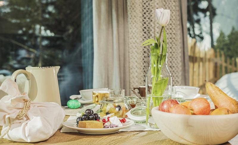 Frühstückskorbservice in den Premium Chalets Roswitha