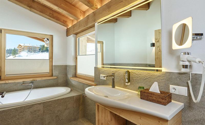 Top ausgestattetes Bad in den Löwen Chalets in Seefeld