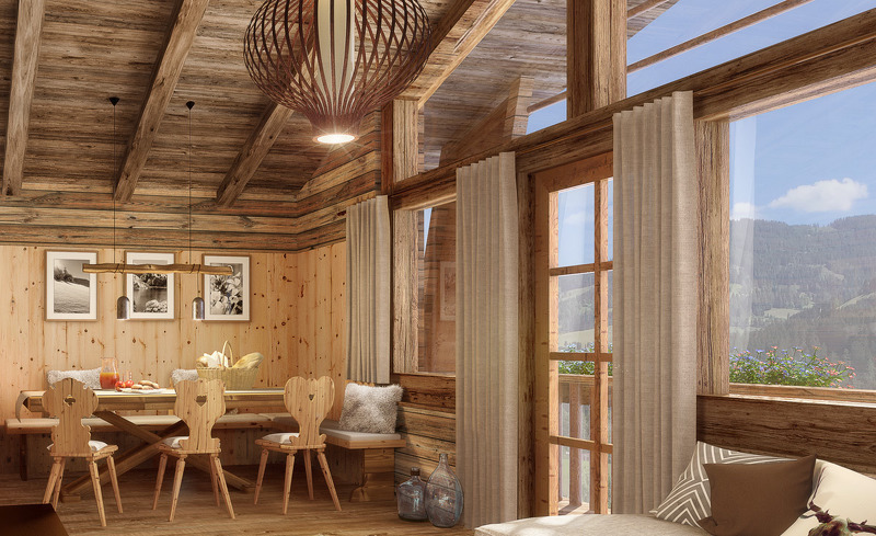 Chaletdorf Prechtlgut- Private luxuriöse Chalets mit Blick auf die Bergkulisse garantieren einen Premium Urlaub der besonderen Art